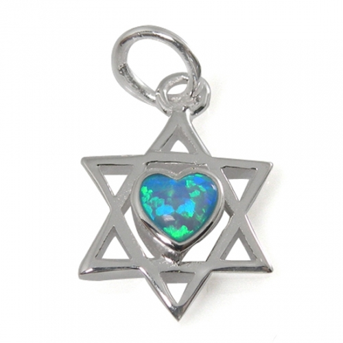 Classic Star of David Necklace with Heart