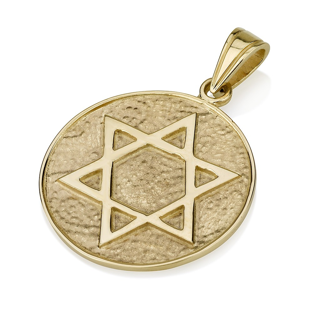 Buy 14k gold star of david pendant on intricately textured circle 14k gold star of david pendant on intricately textured circle background aloadofball Images