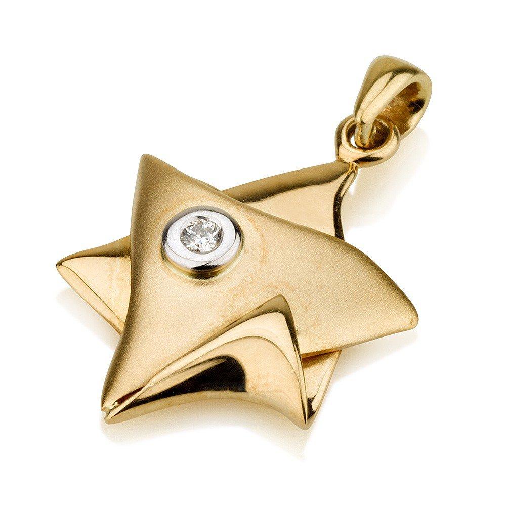 Buy 18k gold folded over star of david pendant with diamond 18k gold folded over star of david pendant with diamond aloadofball Choice Image