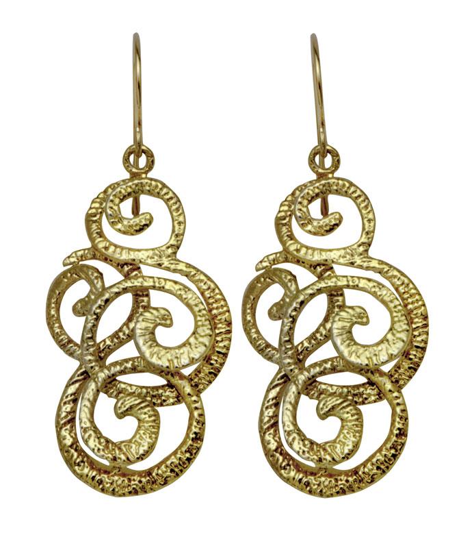 Elegant Gold Ornament Earrings Israeli Jewelry