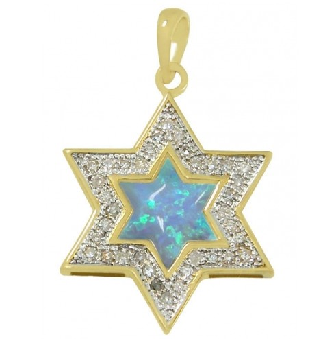 Buy gold and diamond star of david necklace with opal accent stone gold and diamond star of david necklace with opal accent stone aloadofball Images