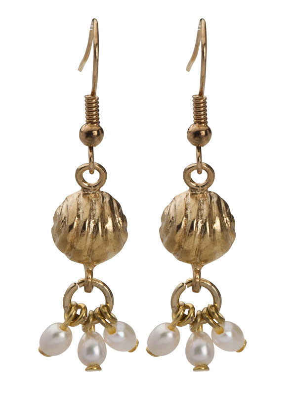 Golden Bell Hanging Earrings With Pearls Jewish Jewelry