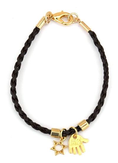 Buy hamsa and star of david pendants braided leather string black string kabbalah pendant bracelet aloadofball Gallery