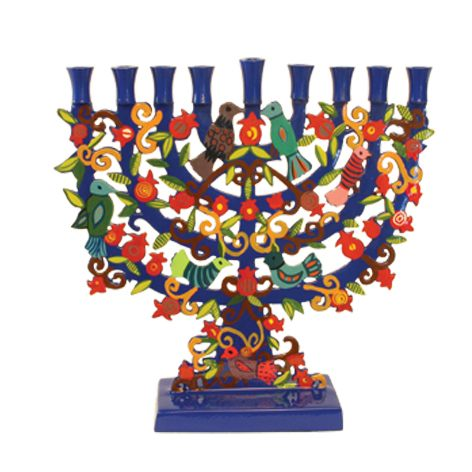 buy painted pomegranate tree hanukkah menorah menorahs for