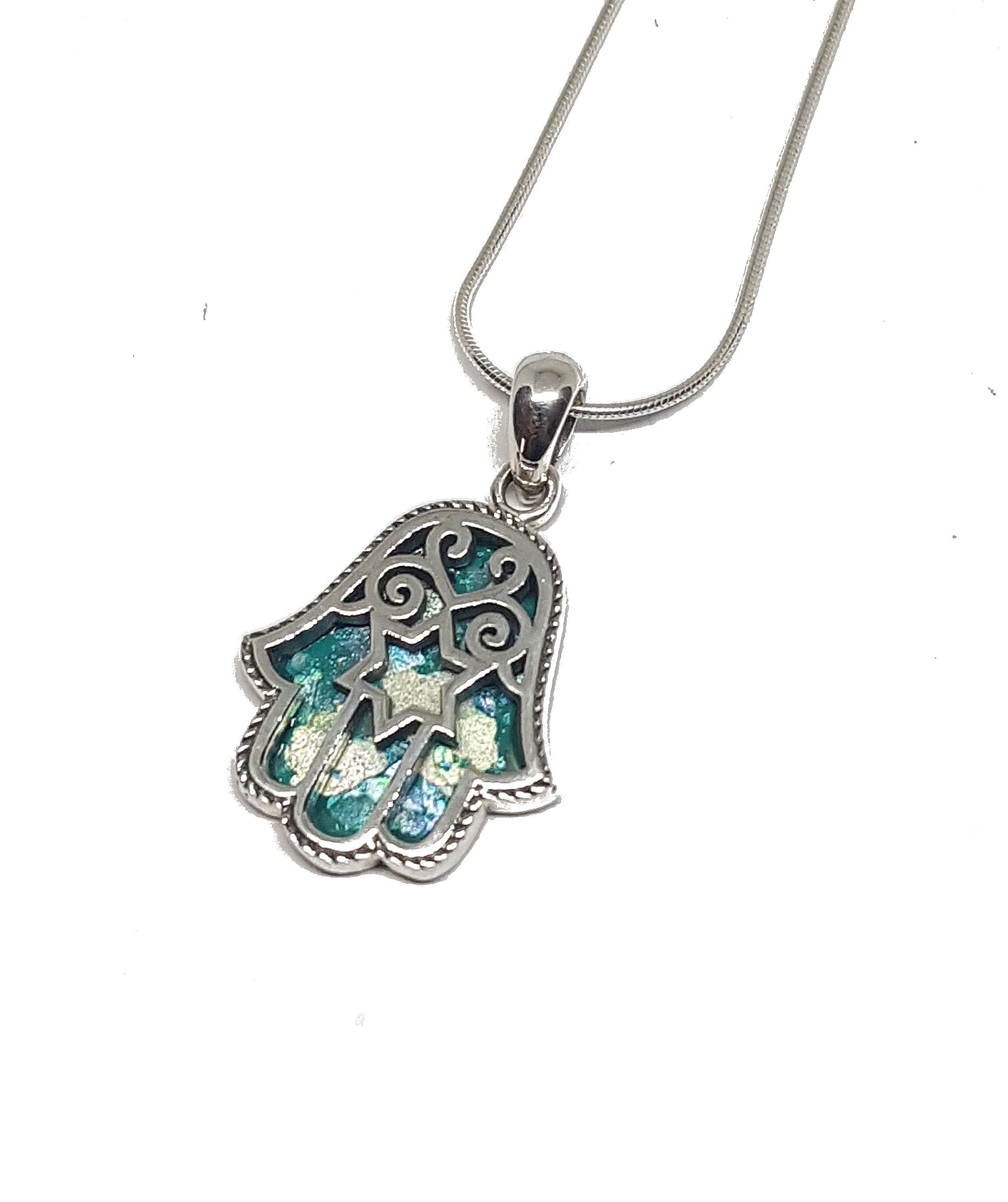 HAMSA WITH STAR OF DAVID PENDANT ON BOX CHAIN sterling silver Gift Box