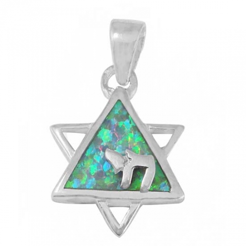 Buy Jewish Symbols Chai And Star Of David Necklace Silver Opal