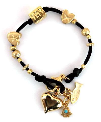 Kabbalah Pendant Gold Charms Silk String Bracelet