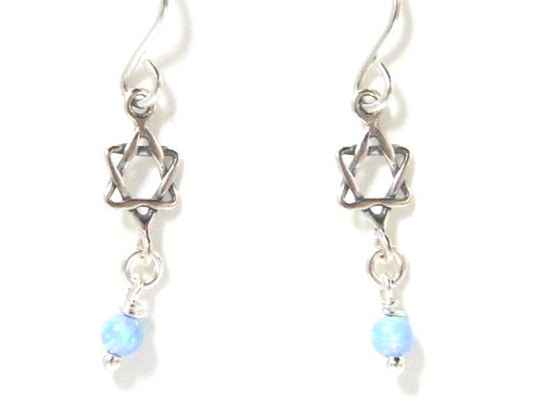 3a549c904 Buy Silver Shablool Star of David Blue Opal Earrings | Israel-Catalog.com