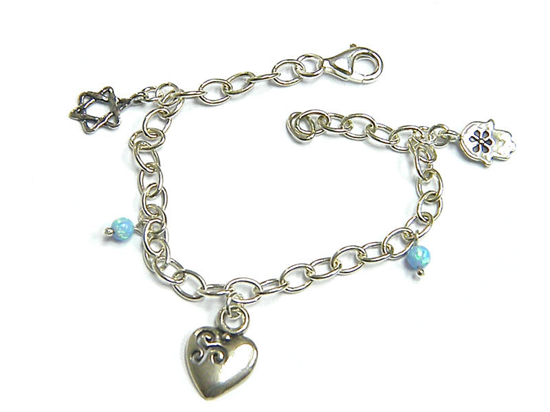 27ed0fc39 Buy Silver Shablool Star of David Hamsa Heart Blue Opals Charm Bracelet |  Israel-Catalog.com