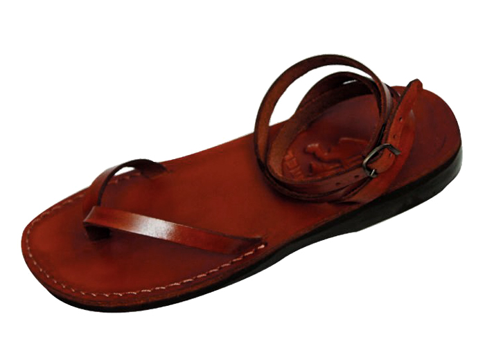 0ccad34b9c9 Buy Simple Leather V-Strap Biblical Handmade Sandal with Adjustable Ankle  Wrap