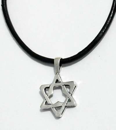 Star of David Pendant Necklace, Leather Rope or Silver Chain