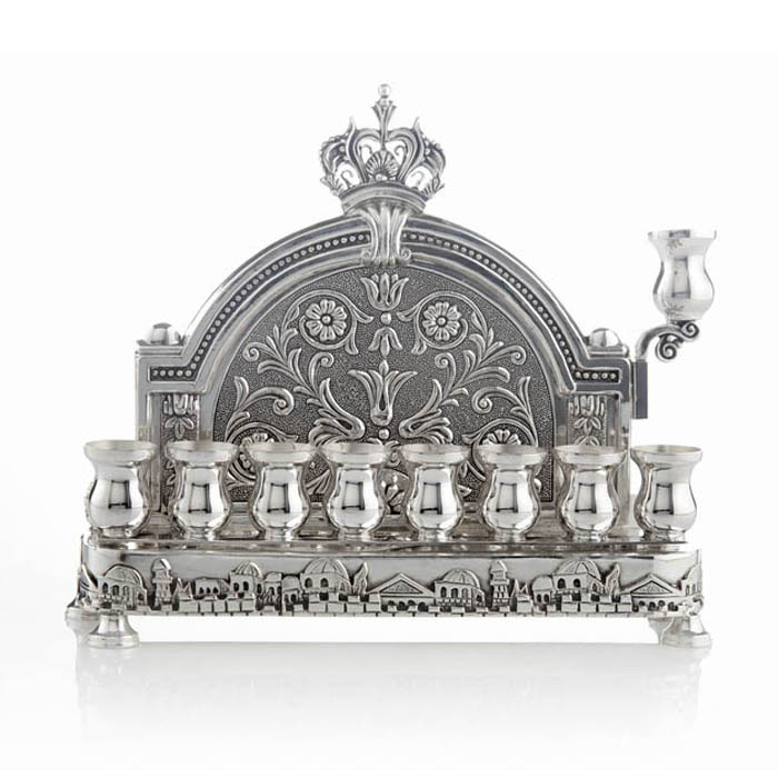 buy sterling silver back wall hanukkah menorah jerusalem design