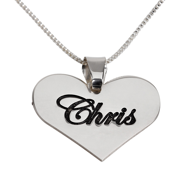 22 Inches Sterling Silver Heart Name Necklace
