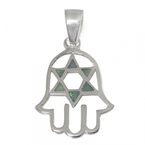 Hamsa and Star of David Necklace