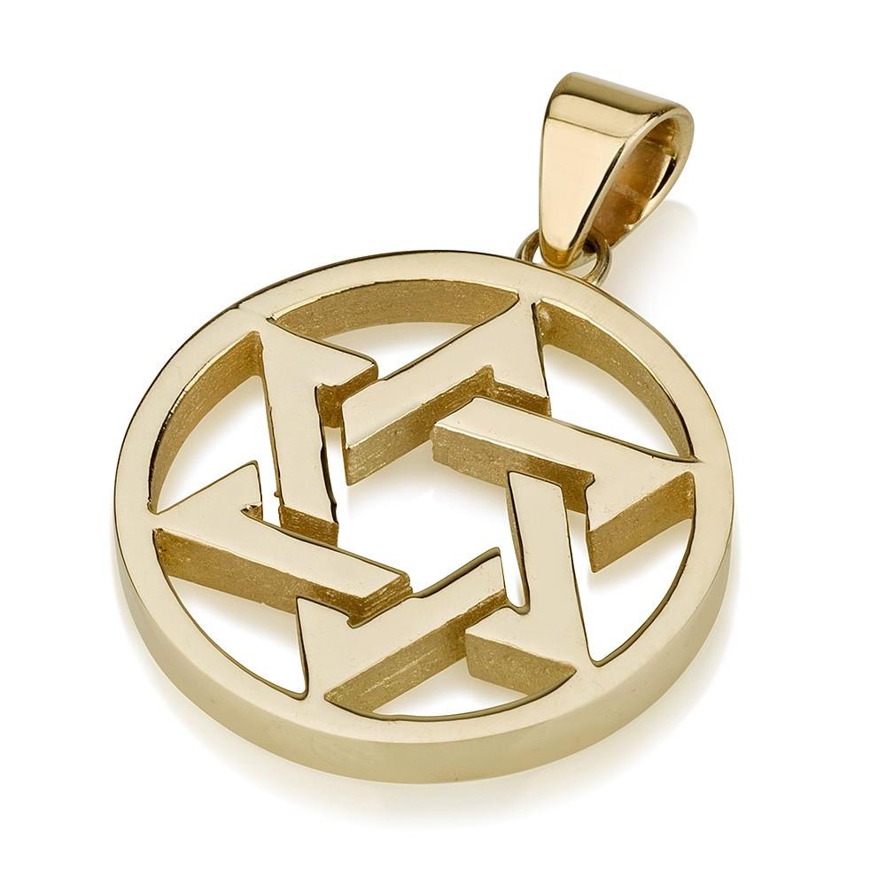 Buy woven illusion 14k gold star of david pendant within circle woven illusion 14k gold star of david pendant within circle aloadofball Images