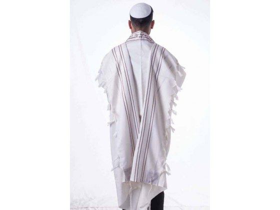 Wool Tallit with Gold and Bordeaux Stripes