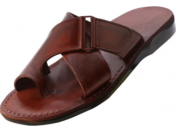 Comfortable wide Strap Slip-on Handmade Leather Sandals - Jacob