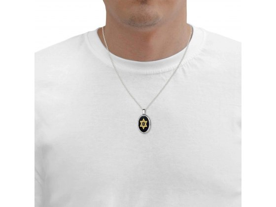 Star of David Necklace with Shema Yisrael Onyx and Silver Frame