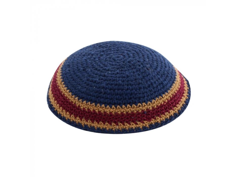 Blue Knit Kippah with Brown Stripes