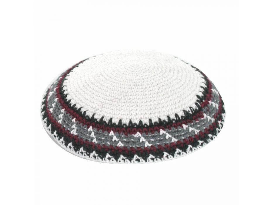 Bordeaux Black and Grey Stripes Knit Kippah