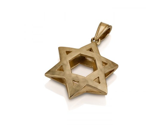 14K Gold 3D, Star of David Necklace