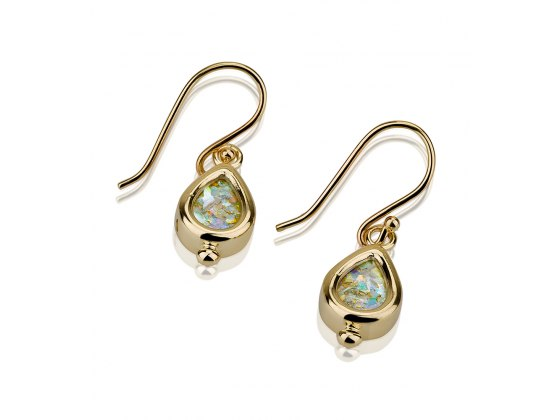 14K Gold and Roman Glass, Drop Design Earrings