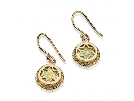 14K Gold and Roman Glass, Star of David Earrings