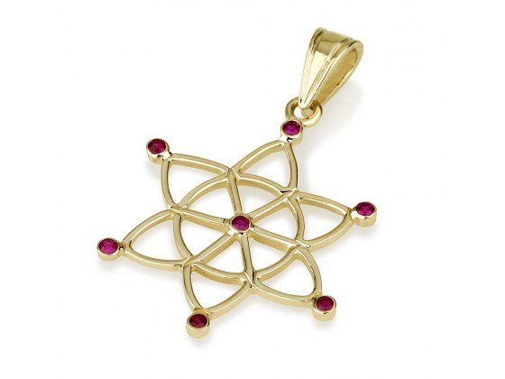14k Gold and Rubies Star of David Dreamcatcher Lace Necklace