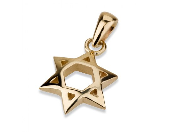 14K Gold Arch Shaped Star of David Necklace
