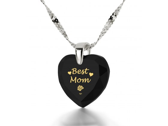 14k White Gold Best Mom Cubic Zirconia Black Jet