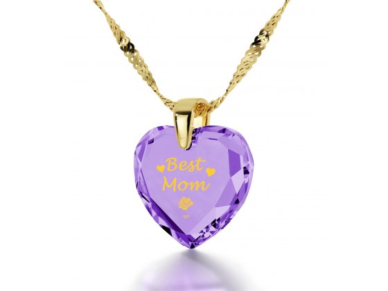 14k Yellow Gold Best Mom Cubic Zirconia Violet Light Amethyst
