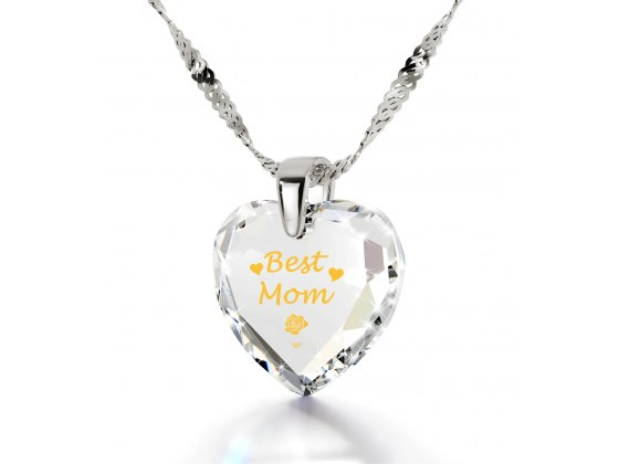 14k White Gold Best Mom Cubic Zirconia Crystal Clear