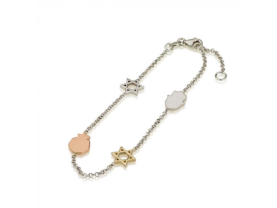 Bracelet with White Yellow 14K Gold Charms Stars of David Pomegranate Hamsa
