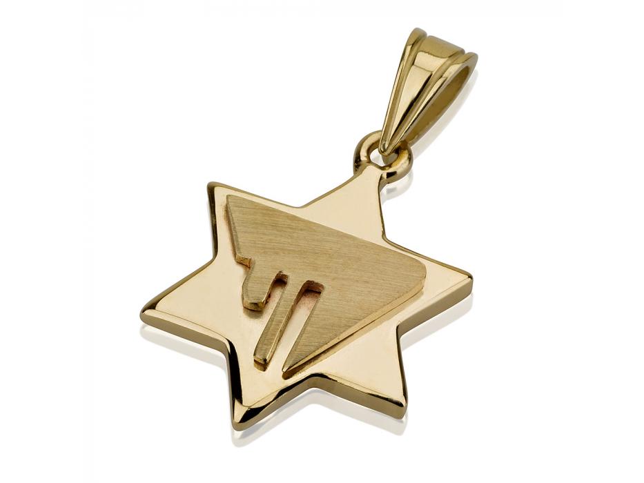 14K Gold Chai Contemporary Design, Star of David Necklace