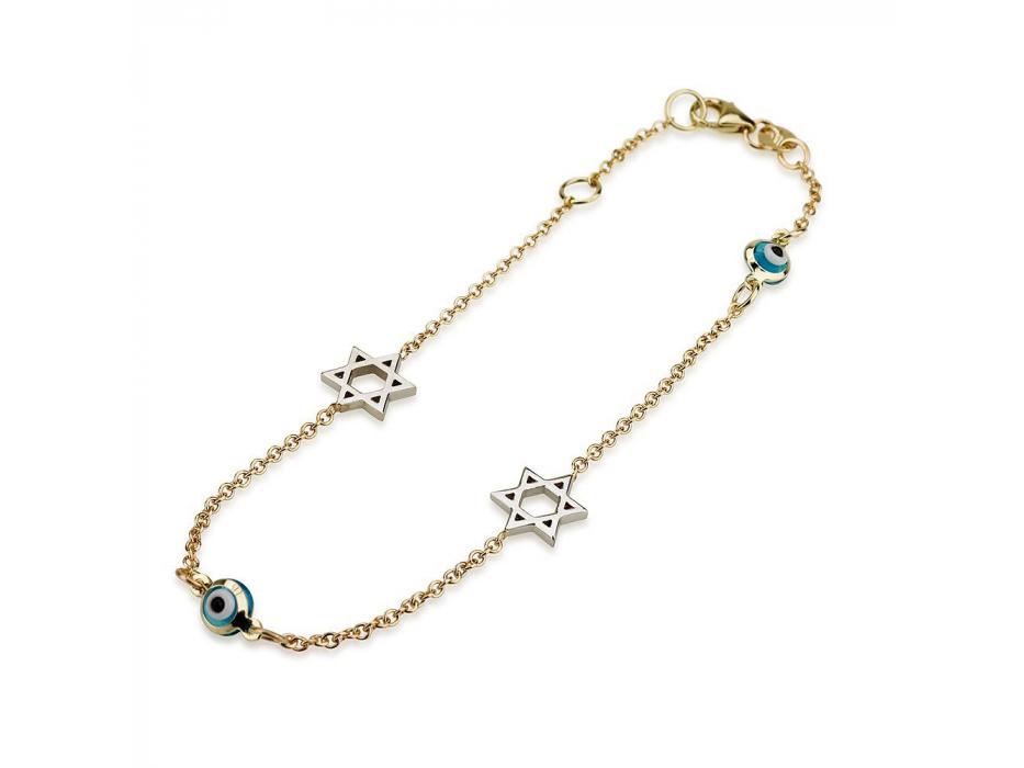 14K Gold Charm Bracelet with 14K White Gold Stars of David and Evil Eye Beads