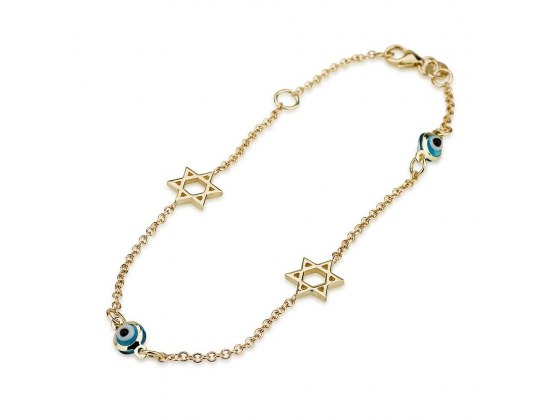 14K Gold Charm Bracelet with 14K Yellow Gold Stars of David and Evil Eye Beads
