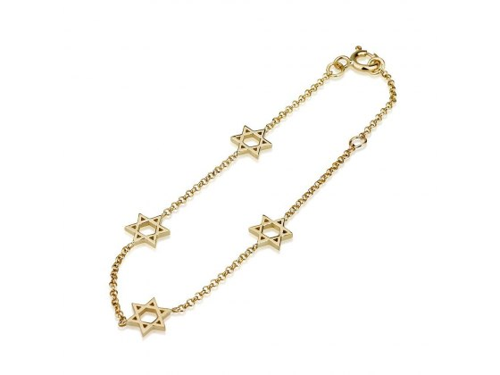 14K Gold Charm Bracelet with Gold Star of David Charms