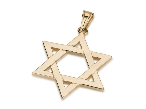 14K Gold Classic interlock design, Star of David Necklace
