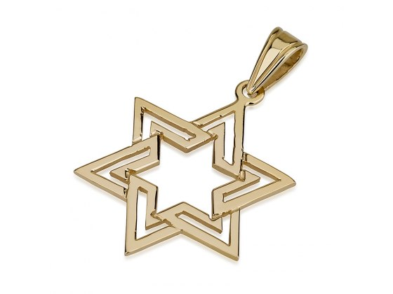 14K Gold Cutout, Star of David Necklace