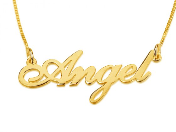 Yellow Gold English Name Necklace Cursive Letter Style