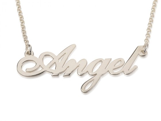 White Gold English Name Necklace Cursive Letter Style