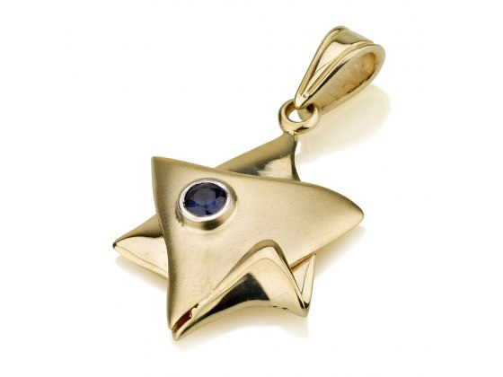 14K Gold Folded Over Star of David Pendant with Sapphire Stone
