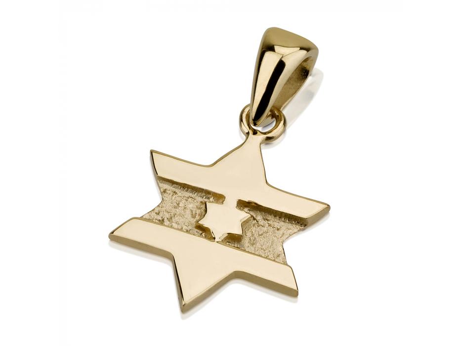 14K Gold Israel Flag Design, Star of David Necklace