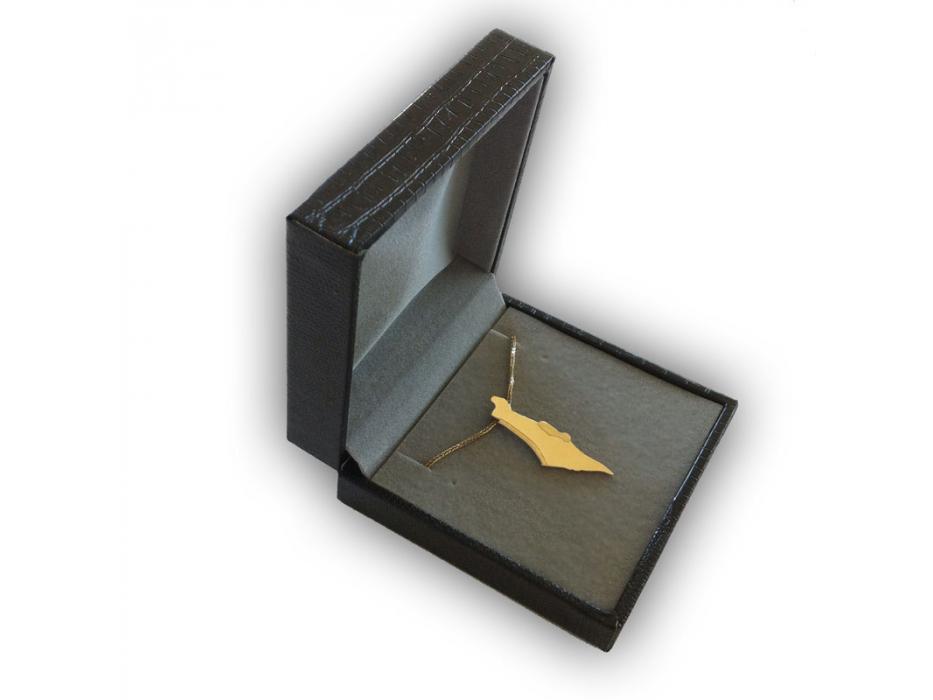 14K Gold and Jerusalem Diamond, Land of Israel Necklace