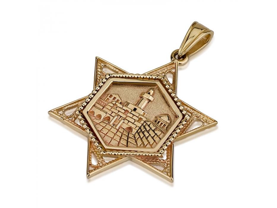 14K Gold Jerusalem with Filigree Ornamants, Star of David Necklace