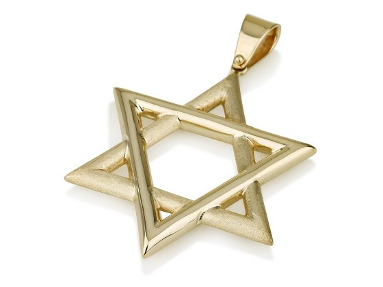 14k Gold Large Star of David Necklace