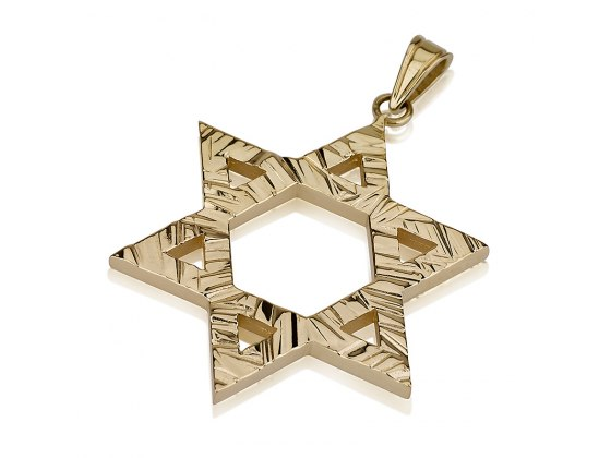 14K Gold Lines Textured Surface, Star of David Necklace