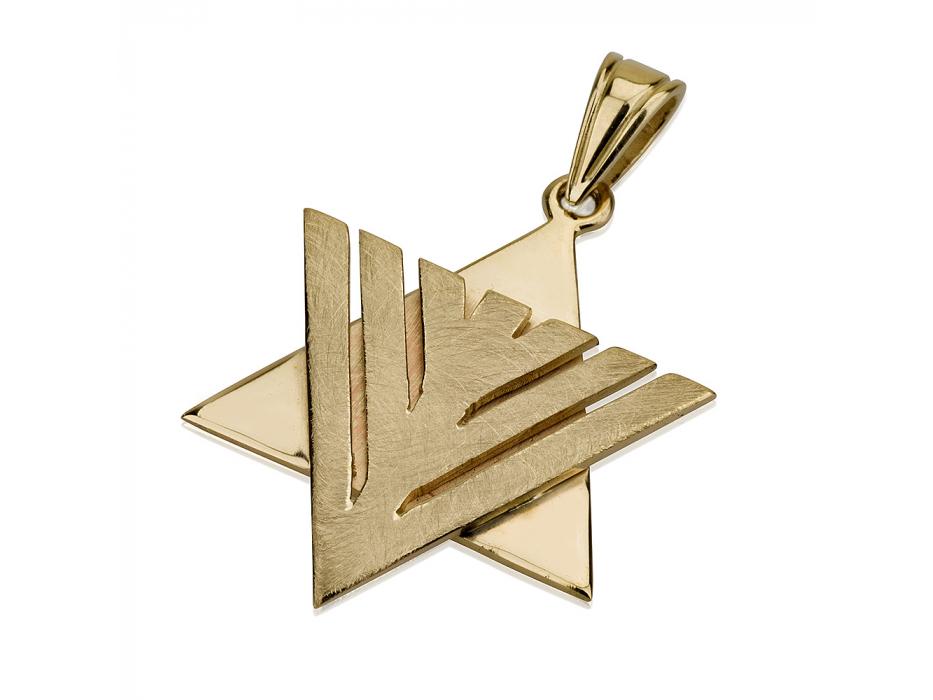14K Gold Modern Menorah , Star of David Necklace