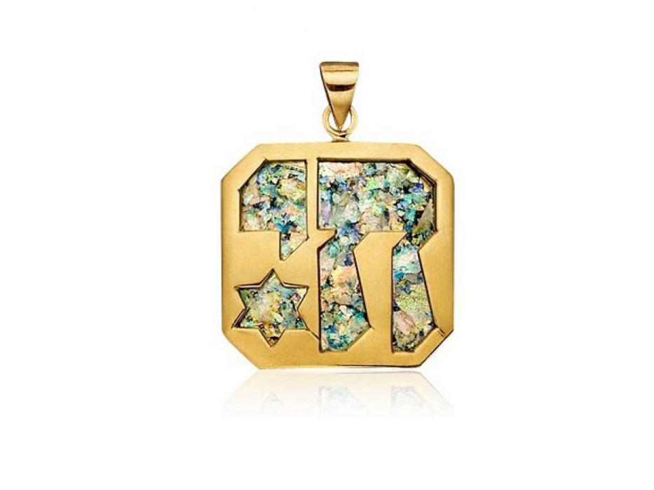 14K Gold Roman Glass Chai Star of David Necklace
