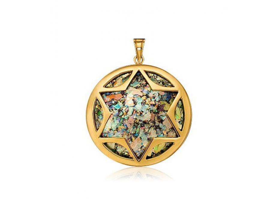14K Gold Roman Glass Circle Star of David Necklace